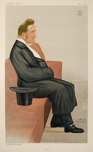 "Edmund Beckett, 1st Baron Grimthorpe - ""Bells"" Baron Grimthorpe as caricatured by Spy (Leslie Ward) in Vanity Fair, February 1889"