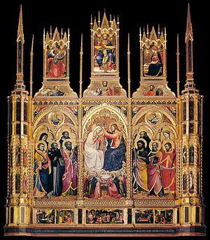 Lorenzo di Niccolò - Lorenzo di Martino, Coronation of the Virgin, 1402, tempera and gold on panel, 81.9 x 102.8 in (208 x 261 cm), SanS Domenico, Cortona
