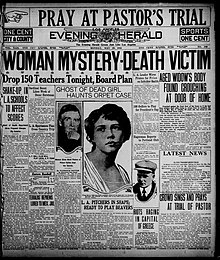 "Old newspaper featuring headlinese like ""WOMAN MYSTERY-DEATH VICTIM"" and ""Drop 150 Teachers Tonight, Board Plan""."