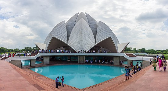 The Lotus Temple, located in New Delhi, India, is a Bahá'í House of Worship completed in 1986.