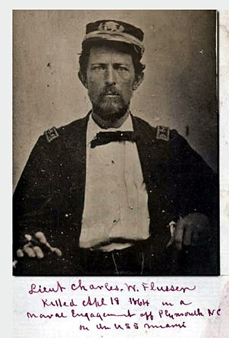 """Battle of Plymouth (1864) - """"Killed April 18, 1864 in a naval engagement off Plymouth NC on the USS Miami"""""""
