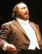 Luciano Pavarotti performing on June 15, 2002 at a concert in the Stade Vélodrome in Marseille