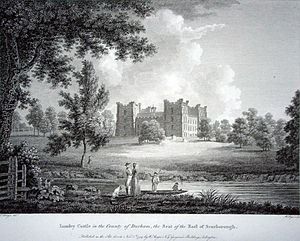Lumley Castle - Lumley Castle on a copperplate print in the 18th century