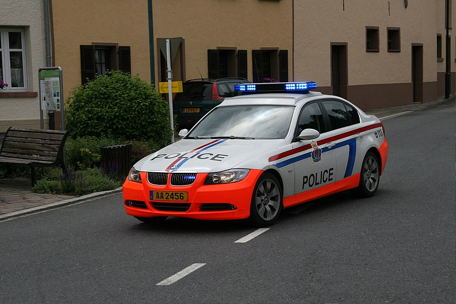 A car of the Luxembourg police in Stolzembourg, Luxembourg.