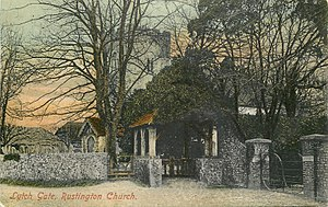 Rustington - Lych Gate, Rustington Church, John White postcard, sent 1905