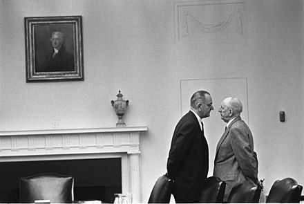 "President Johnson endeavors to give ""The Treatment"" to Senator Richard Russell in 1963 Lyndon Johnson and Richard Russell.jpg"