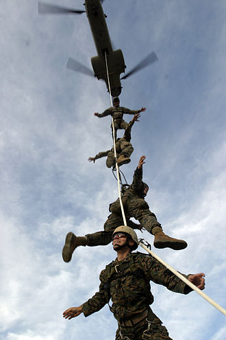 Marine Raider Regiment - Marine Raiders of 1st Marine Raider Battalion are lifted from the ground by a CH-46 Sea Knight helicopter during Special Purpose Insertion/Extraction rigging at Camp Margarita, Camp Pendleton.
