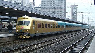 Essen Hauptbahnhof - Train of S-Bahn Rhein-Ruhr in golden livery as part of the Festivals of Ruhr.2010 European Capital of Culture