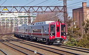 Electric multiple unit - Metro-North Railroad M8 married pairs in Port Chester, New York