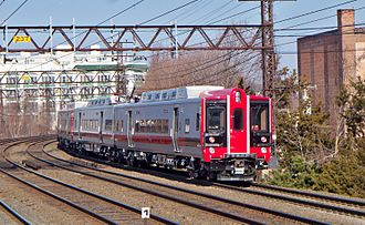 New Haven Line - An outbound train of M8s near Port Chester.