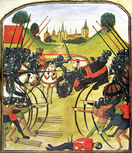 The Battle of Tewkesbury in 1471. Large numbers of English nobility perished in the Wars of the Roses MS Ghent - Battle of Tewkesbury.jpg