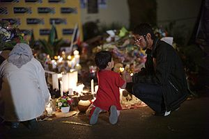 Death of Nelson Mandela - Candlelight vigil outside Mandela's home.