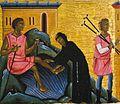 Maestro della croce 434 e maestro di santa maria primerana, san francesco e storie della sua vita (dettaglio guarigione di bartolomeo da narni), pistoia, museo civico.jpg