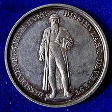 Mainz, 1840 Gutenberg Denkmal on the medal for Gutenberg's Printing Press 400th anniversary, obverse. (Source: Wikimedia)