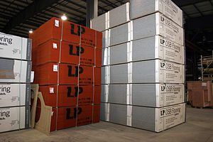 Bulk materials stored indoors at a manufacture...