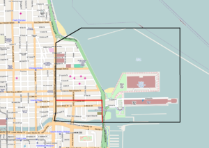 Streeterville - Most sources support the black Streeterville borders as shown above, but the City of Chicago officially only includes the smaller region inside the red borders.