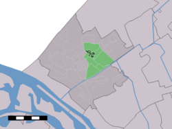 The village (dark green) and the statistical district (light green) of Honselersdijk in the municipality of Westland.