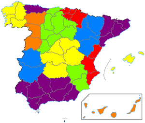 1822 territorial division of Spain - Map of the similar 1833 territorial division of Spain; this division into provinces remains in effect with only minor modifications as of 2009; the colored regions were superseded by the modern autonomies.