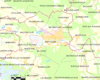Map of the commune of Saint-Dizier