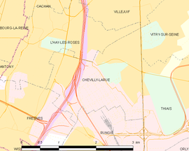 Mapa obce Chevilly-Larue