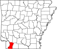 Map of Arkansas highlighting Lafayette County