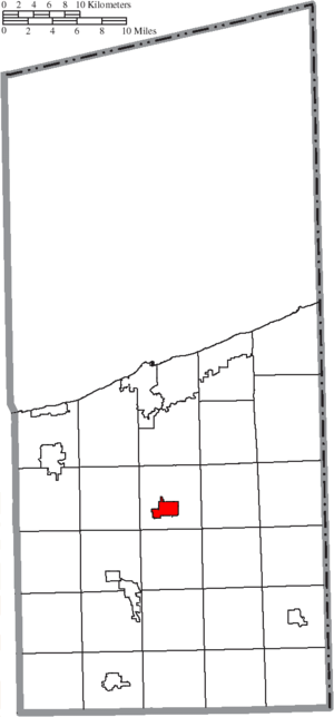 Jefferson, Ohio - Image: Map of Ashtabula County Ohio Highlighting Jefferson Village