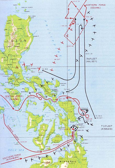 Movements of American forces (in black) and Japanese forces (in red) during the Battle of Leyte Gulf Map of Battle of Leyte Gulf.jpg