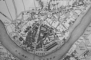 Innere Neustadt (Dresden) - Map of Dresden 1837, section showing Neustadt