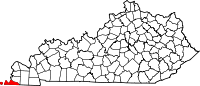 Map of Kentucky highlighting Fulton County