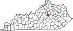 State map highlighting Jessamine County