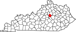 map of Kentucky highlighting Jessamine County