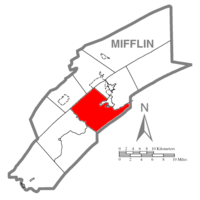 Map of Mifflin County, Pennsylvania highlighting Granville Township