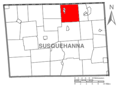 Map of Susquehanna County Pennsylvania highlighting Great Bend Township.PNG