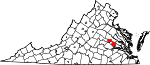 State map highlighting Henrico County