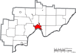 Map of Washington County Ohio Highlighting Marietta City.png