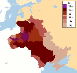 Pale of Settlement - Image: Map showing percentage of Jews in the Pale of Settlement and Congress Poland, c. 1905