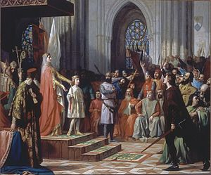 Ferdinand IV of Castile - María de Molina shows her Ferdinand IV in the Cortes of Valladolid of 1295, by Antonio Gisbert, 1863. Currently displayed in the Congress of Deputies, Spain.