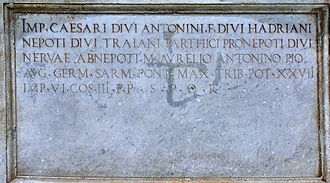 Equestrian Statue of Marcus Aurelius - The inscription on the plinth of the statue, commissioned by Pope Paul III.