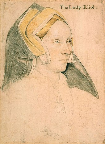 Portrait of Margaret, Lady Elyot, c. 1532-34. Royal Collection, Windsor Castle. Margaret, Lady Elyot by Hans Holbein the Younger.jpg