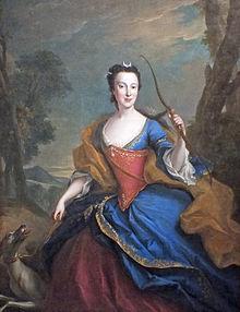 Maria Anna von Sachsen als Göttin Diana, 1746, vor ihrer Eheschließung (Quelle: Wikimedia)