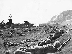 1st Battalion, 23rd Marines - Marines burrow in the volcanic sand on the beach of Iwo Jima, as their comrades unload supplies and equipment from landing vessels despite the heavy rain of artillery fire from enemy positions in the background.