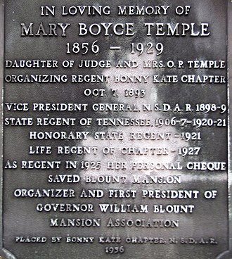 Mary Boyce Temple - DAR plaque on the Temple obelisk at Old Gray Cemetery