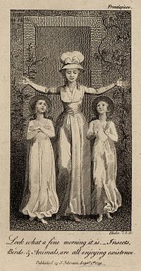 Drawing showing a female teacher holding her arms up in the shape of a cross. There is one female child on each side of her, both gazing up at her.