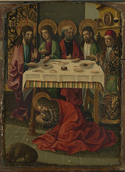 File:Master of Perea - Saint Mary Magdalen anointing the feet of Christ - 1975.95.1 - Yale University Art Gallery.jpg