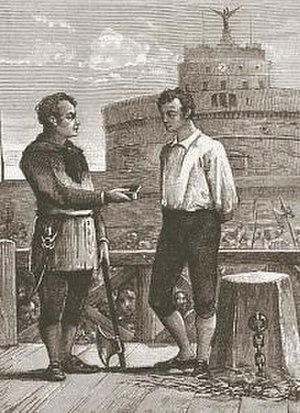 Capital punishment in Vatican City - Giovanni Battista Bugatti, executioner of the Papal States between 1796 and 1865, carried out 516 executions (Bugatti pictured offering snuff to a condemned prisoner in front of Castel Sant'Angelo).