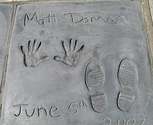 Matt Damon handprints in front of the Mann's C...