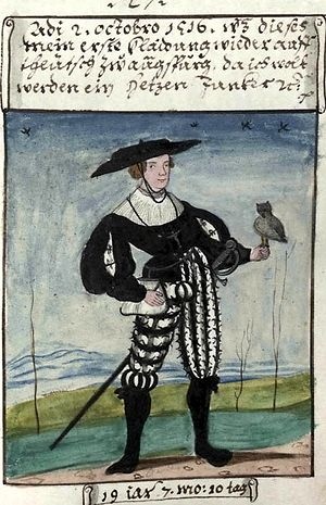 Matthäus Schwarz - Matthäus Schwarz at the age of 19. A typical page from the Trachtenbuch.