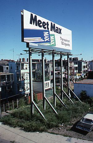 Max (cigarette) - An old Max billboard advertisement in East Boston, 1975