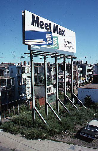 Max (cigarette) - An old Max billboard advertisement in East Boston, 1975