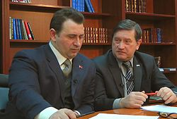 Maxim Kalashnikov and Vladimir Khomyakov live on The National Issue — February 25, 2011.jpg